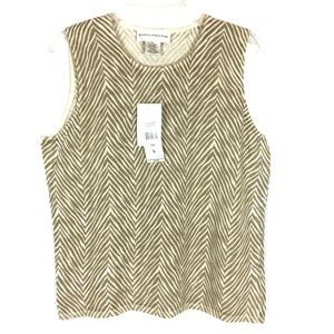 Evan Picone Tan Zebra Chevron Stripe Tank Top Sz L